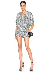 Pierre Balmain Printed Romper In White Black Blue Animal Print