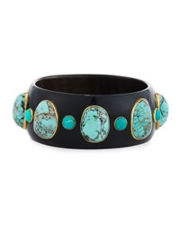 Ashley Pittman Michezo Turquoise Studded Dark Horn Bangle Brown