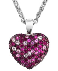 Effy Collection Balissima By Effy Pink Sapphire 1 5 8 Ct. T.W. And Ruby 1 5 8 Ct. T.W. Heart Pendant In Sterling Silver