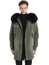 Mrandmrs Italy Murmansky Fur Trim Cotton Canvas Parka