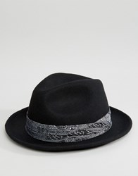 Reclaimed Vintage Fedora With Bandana Detail Black