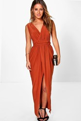 Boohoo Sarah Plunge Drape Maxi Dress Copper