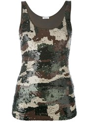 P.A.R.O.S.H. Sequined Camouflage Pattern Top Women Cotton Polyamide Spandex Elastane Pvc S Green