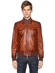 Dsquared Faded Leather Biker Jacket
