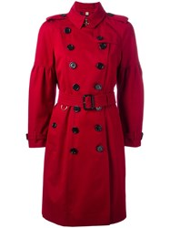 Burberry Double Breasted Coat Red