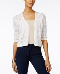 Jm Collection Petite Cropped Crochet Cardigan Only At Macy's Bright White