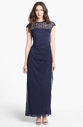 Women's Alex Evenings Lace Yoke Faux Wrap Mesh Gown Navy
