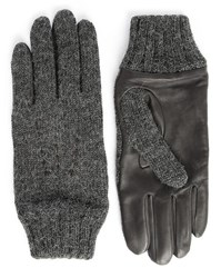 Agnelle Grey Dual Fabric Leather And Wool Gloves