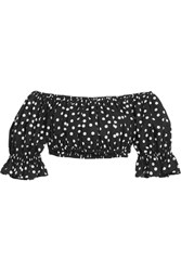 Dolce And Gabbana Off The Shoulder Cropped Polka Dot Cotton Top Black