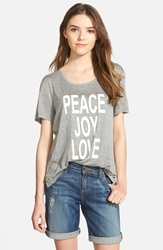 Cj By Cookie Johnson Peace Joy Love' Screenprint High Low Tee Heather Grey