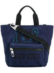 Kenzo Tiger Embroidered Tote Polyester Nylon Cotton Blue