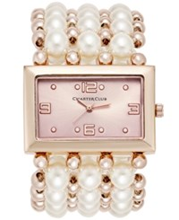Charter Club Women's Rose Gold Tone Imitation Pearl Stretch Bracelet Watch 40Mm Only At Macy's