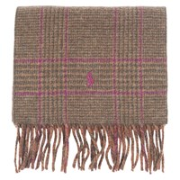 Ralph Lauren Polo Reversible Check Scarf One Size Green Pink