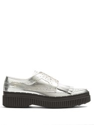 Tod's Fringed Brogue Detail Leather Creepers Silver