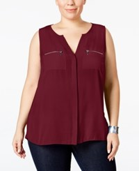 Inc International Concepts Plus Size Split Neck Zipper Blouse Only At Macy's Port