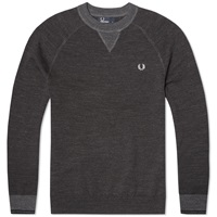 Fred Perry Budding Yarn Tipped Sweater Vintage Graphite Marl