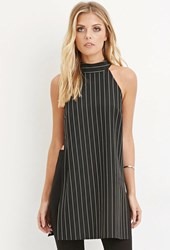 Forever 21 Contemporary Pinstriped High Slit Tunic Black White