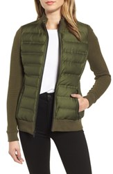 Marc New York Puffer Jacket With Knit Sleeves Olive