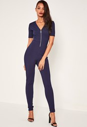 Missguided Blue Ribbed Zip Front Short Sleeve Jumpsuit Navy
