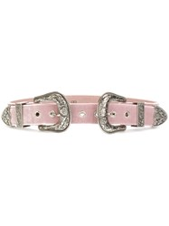 B Low The Belt Double Buckle Women Calf Leather Velvet L Pink Purple