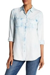 Foxcroft Long Sleeve Acid Wash Shirt Blue