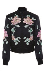 3X1 Floral Embroidered Satin Bomber Black