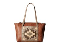 American West Earth Bound Zip Top Tote Copper Stone Tote Handbags Brown