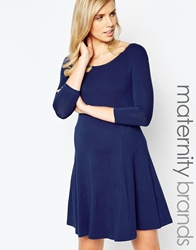 Isabella Oliver Jersey 3 4 Sleeve Skater Dress Navy