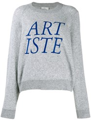 Closed Artiste Embroidered Sweater Grey