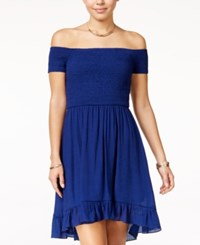 Amy Byer Bcx Juniors' Off The Shoulder Fit And Flare Dress Medium Blue