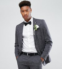 Farah Tall Skinny Wedding Suit Jacket In Fleck Charcoal Grey