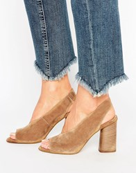 Asos Talkative Suede Slingback Sandals Camel Tan