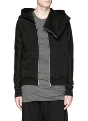 Rick Owens Faux Leather Sleeve Cotton Terry Hoodie Black