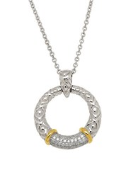 Lord And Taylor Diamond Sterling Silver 14K Yellow Gold Circle Pendant Necklace