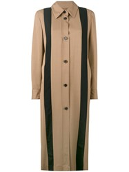 Aalto Striped Long Coat Women Viscose Virgin Wool 38 Nude Neutrals