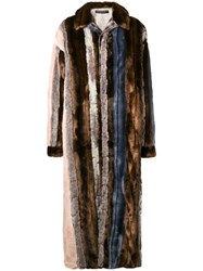 Y Project Oversized Faux Fur Paneled Coat Nude And Neutrals