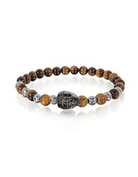 Blackbourne Brown Tigers Eye Irregular Stone Men's Bracelet W Gunmetal Swarovski Crystal Skull