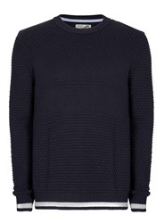 Topman Ltd Navy And White Ribbed Jumper Blue