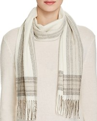Bloomingdale's C By Border Plaid Cashmere Scarf Ivory Gray Oatmeal