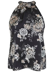 Miss Selfridge Print Lace Back Shell Top Black