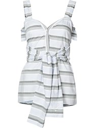 Derek Lam 10 Crosby Tied Waist Striped Blouse Blue
