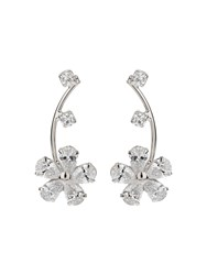 Mikey Cubic Stem Daisy Flower Earring White