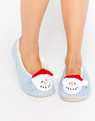 Asos Nutmeg Christmas Snowman Slippers Baby Blue Fairisle