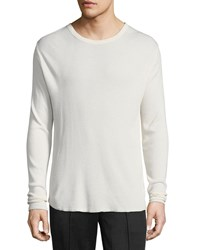 Vince Waffle Knit Long Sleeve T Shirt Off White