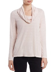 Lord And Taylor Petite Metallic Cowl Neck Sweater Frost Rose