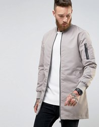 Brave Soul Long Line Zip Through Jacket Grey