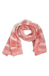 St. John Women's Collection Knit Plaid Scarf Bright Coral Multi