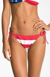 Women's Ralph Lauren Stripe Side Tie Bikini Bottoms Multi Color