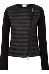 Moncler Quilted Shell And Wool Cardigan Black