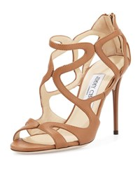 Jimmy Choo Leslie Curvy Caged Leather Sandal Canyon